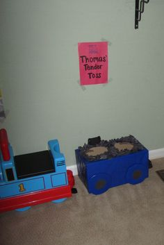 just this image- cute train birthday party game. i made black bean bags to toss in it (coal). the box is a diapers box, wrapped in wrapping paper, and balled up black construction paper hot glued to the top Thomas The Train Birthday Party, 5th Birthday Party Ideas, Trains Birthday Party, Birthday Party Games, Third Birthday, Birthday Bash, Train Party Decorations, Train Bedroom, Bean Bags