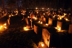 Graves lit by candles in Sweden on All Souls Day  ...so it isn't just a latin american tradition!