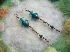 Earrings Lamp Work Hearts Dark Aqua by GratefulBeads on Etsy, $10.00