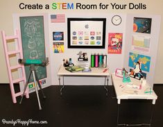 Learn how to make a STEM lab room for your dolls! This room is inspired by the upcoming release of the American Girl doll of the year 2018, Luciana Vega.