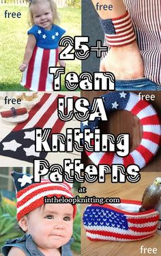 Knitting patterns celebrating Team USA, or any patriotic celebration with flag and stars and stripes themes. Most patterns are free