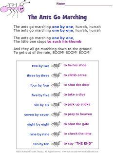 ants go marching lyrics printout | Preschool Stuff | Songs ...