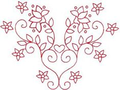 Redwork Valentine's Heart 5 Embroidery Design by Kinship Kreations