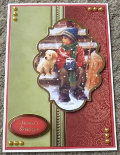 Handmade Card Hunkydory Christmas - using last years stash - Vintage Christmas Cards To Make, Xmas Cards, Handmade Christmas, Christmas Ideas, Christmas Ornaments, Craft Projects, Projects To Try, Hunkydory Crafts, Hunky Dory