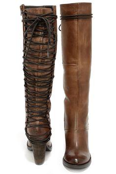 29a716e35c7d Steve Madden Rikter Cognac Leather Knee High Heel Boots