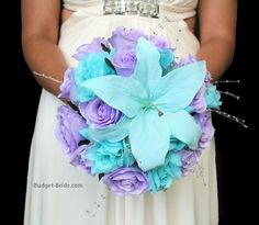 Lavender Lilac and Aqua wedding flower bouquet with silver