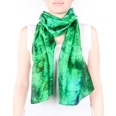Emerald silk scarf / bright green and blue /  by CeliaEtcetera
