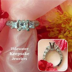 Princess diamond engagement ring with incredible side detail.  Tidewater Keepsake Jewelers