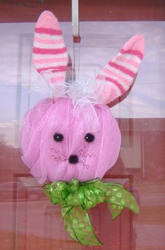 deco mesh easter bunny | Items similar to Deco Mesh Easter Bunny Wreath - your choice of colors ...