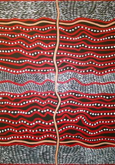Gloria Petyarre Body Painting 1999 | Acrylic on cotton |  Gloria has painted a combination of bush medicine leaves and body painting.