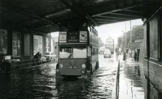 c1955 - London Transport Trolleybus 1781 negotiating flood…