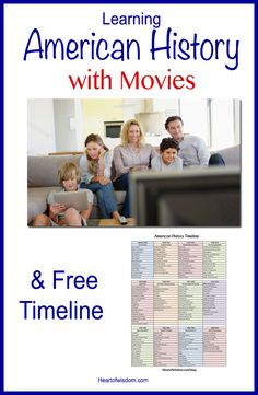 Movie Homeschooling I could not find a chronological list of movies of American History so I made the one below. First I created a timeline from 1630 to 2000 into 12 eras and listed the most import…
