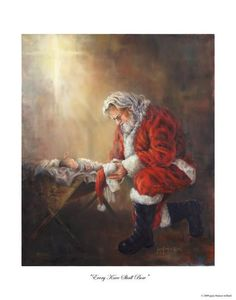 Every Knee Shall Bow - First saw a sculpture of Santa kneeling at Baby Jesus' manger several years ago.  Love the message!  Love this painting!
