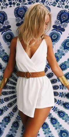 #muraboutique #label #outfitideas |  White Belted Playsuit