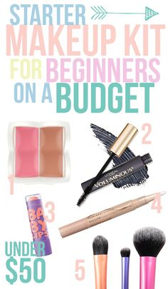 Starter Makeup Kit for Beginners. 1. Flower Cosmetics Duo in Gloriously Golden 2. L'Oreal Voluminous Mascara in Carbon Black 3. MaybellineBaby Lips Moisturizing Lip Balm, in Peach Kiss 4.Maybelline Highlighting Concealer in Ivory 5. real Techniques Travel Essentials Set