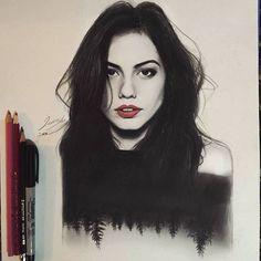 Beautiful portrait of Demet Özdemir by jawadalghezi_art. Pencil Art Drawings, Realistic Drawings, Art Drawings Sketches, Colorful Drawings, White Pen, Pen Sketch, Beautiful Drawings, Drawing Poses, Pictures To Draw