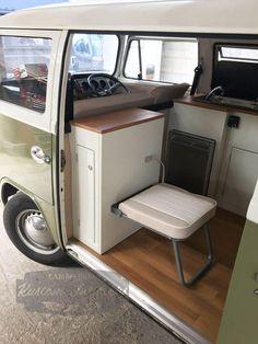 Mark's Bay Window Camper renovation project is now complete with its Kustom Interiors campervan interior Bus Camper, Bus Vw, Build A Camper Van, Combi Vw T2, Combi Ww, Vw T3 Westfalia, Vw Minibus, Volkswagen Bus Interior, Campervan Interior