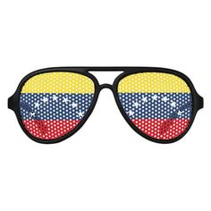 Shop Colombian flag aviator sunglasses created by AwesomeFlags. Colombian Flag, Venezuela Flag, Flags Of The World, National Flag, Flag Design, Yellow Stripes, Blue Gold, Dark Blue, Midnight Blue