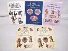 PRESSURE SENSITIVE STICKERS 5 BOOK CATS FLORAL BOUQUETS PATRIOTIC STAINED GLASS