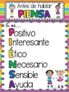 Poster para el salón de clases: Antes de hablar piensa