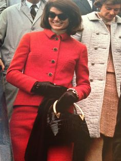 Jacqueline Kennedy has ordered seven bags.  The big favorite is the alligator soft box.  Its the thin gold bracelet handle that makes it especially new looking.  The former first lady also ordered it in fabric.  This bag is also on order for Lady Astor, Mrs. Samuel Reed, one of the du Ponts, Countess Volpe, Marella Agnelli and Duchess de Rochambeau. WWL 1967