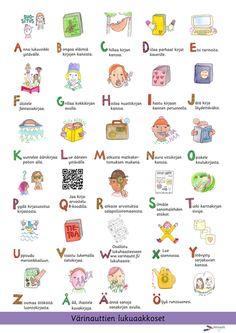 Julisteet - Värinautit Alphabet, Pictures, Reading, Photos, Alpha Bet, Reading Books, Grimm
