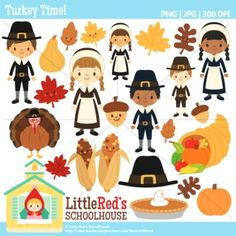 Clip Art: Turkey Time! - Thanksgiving-themed Clipart. In color and black and white lineart! For personal, educational and small-business use.