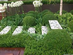 white metal steps, show garden, Hampton Court Flower Show 2012