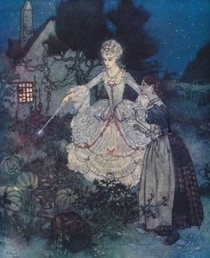 """""""And her godmother pointed to the finest of all with her wand."""" From, 'The Sleeping Beauty and Other Tales From the Old French.' By Edmund Dulac, illustrator fairy tale illustrations. Tederella in the garden with Fairy Godmother. Edmund Dulac, Art And Illustration, Book Illustrations, Fantasy Kunst, Fantasy Art, Cinderella Fairy Godmother, Cinderella Art, Cinderella Original, Bel Art"""