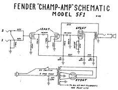 fender champ tube amp schematic - model 5f1 dc circuit, circuit diagram,  electronic schematics