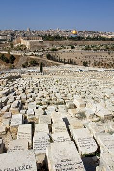 View at the Temple Mount, including the Al-Aqsa Mosque, and the Dome of the Rock, from the Mount of Olives,  Old City of Jerusalem.
