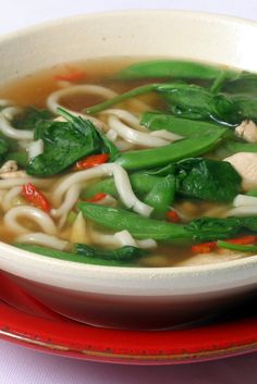 NYT Cooking: Home alone? This is a superfast soup that is meant to feed one person — that's right, one. Soy sauce, sherry and ginger give tang and heat to the broth, and udon noodles lend a decidedly Asian feel. And with the added flavors of chicken, spinach and sugar-snap peas, it's healthy and filling.