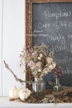 Love this idea for a French Country themed dinner party - menu hand-written on the board, could use dried flowers (great as a do-ahead task) Rustic French Country, French Country Decorating, French Countryside, French Decor, Country Themed Parties, Fall Vignettes, Dinner Themes, French Cottage, White Pumpkins
