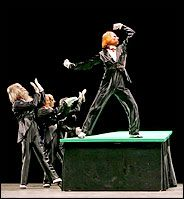 """""""The scene of The Gentlemen in Black provides an example of how the choreographer directed the audience to focus on a particular point of interest, which may be a dancer located on a higher plane than the rest of the group, or someone keeping still while everybody else is moving (or vice versa), or simply a convergence of the compositional lines."""" Dance Of Death, Green Table, Everybody Else, Ny Times, Plane, Dancer, Horror, Rest, Ballet"""
