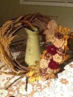 Fabric Flower Wreath for Fall