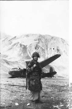 Mussolini's escape. German paratrooper at Gran Sasso mountain, Abruzzi, Italy. 1943.