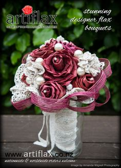 Bride & Groom Magazine -  Issue 79  Dusky pink flax flowers with vintage doily flowers and pearls, made and designed by Artiflax Limited