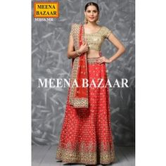 If I had to get married again - I would wear this - Red Raw Silk Lehenga from Meena Bazaar