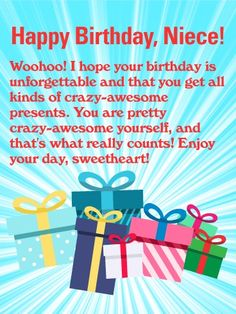 Send Free You are Amazing! Happy Birthday Wishes Card for Niece to Loved Ones on Birthday & Greeting Cards by Davia. It's free, and you also can use your own customized birthday calendar and birthday reminders. Happy Birthday Niece Messages, Birthday Cards For Niece, Birthday Verses, Happy Birthday Wishes Quotes, Happy Birthday Wishes Cards, Birthday Reminder, Happy Birthday Sister, Happy Birthday Funny, Birthday Greeting Cards