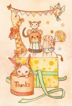 「Thanks」個展会場でライブペイントした水彩イラスト Illustration:Shoko.h