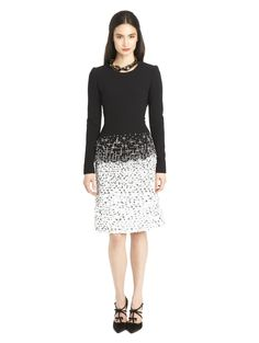Oscar de la Renta - Wool crepe & tweed embroidered dress