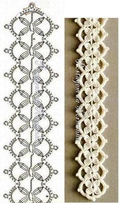Crochet Edging Patterns, Crochet Lace Edging, Crochet Borders, Crochet Diagram, Crochet Doilies, Crochet Flowers, Knitting Patterns, Irish Crochet, Crochet Edgings