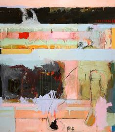 Chris Gwaltney at Seager Gray Gallery showing Postcard from JMB an abstract oil painting with strong use of color.