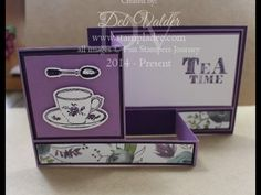 www.stampladee.com This is a tutorial on the fancy fold box card using the Fun Stampers Journey Tea Time Bundle.