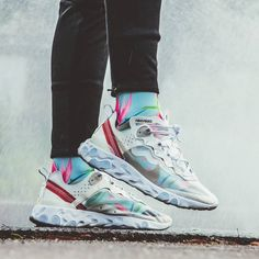 "separation shoes 4acaf ca076 Sneaker Freaker on Instagram  ""We love the way a good pair of socks changes  the look of the Nike React Element 87. What s your favourite combo"