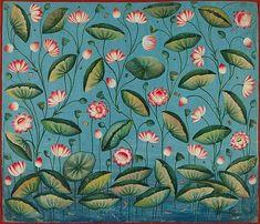 Hand Painting Art, Fabric Painting, Lotus Painting, Pichwai Paintings, Floral Paintings, Saree Painting Designs, Indian Folk Art, Indian Artwork, Hand Painted Sarees