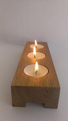 3 Tea Light Candle Holder Modern Look Candle Holder Wooden Candle Holder Home Decor Old Oak Wed
