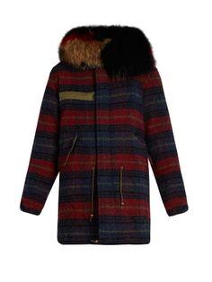 Fur-trimmed striped wool parka