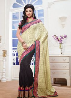 georgette off white pallue with Karachi allover work – New India Fashion - Rs. 3,695.00