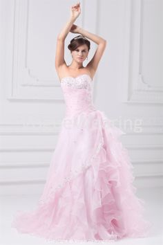 A-Line Sweetheart Court Train Satin Organza Wedding Dresses with Color -Wedding Dresses